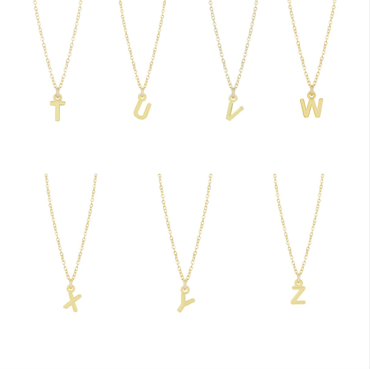 Dainty gold Initial Necklaces as shown on a white background, initials T U V W X Y Z