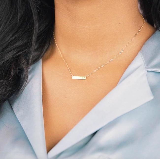 The Bar with Gem Necklace. Made for the minimalist. Handmade in California by Katie Dean Jewelry.
