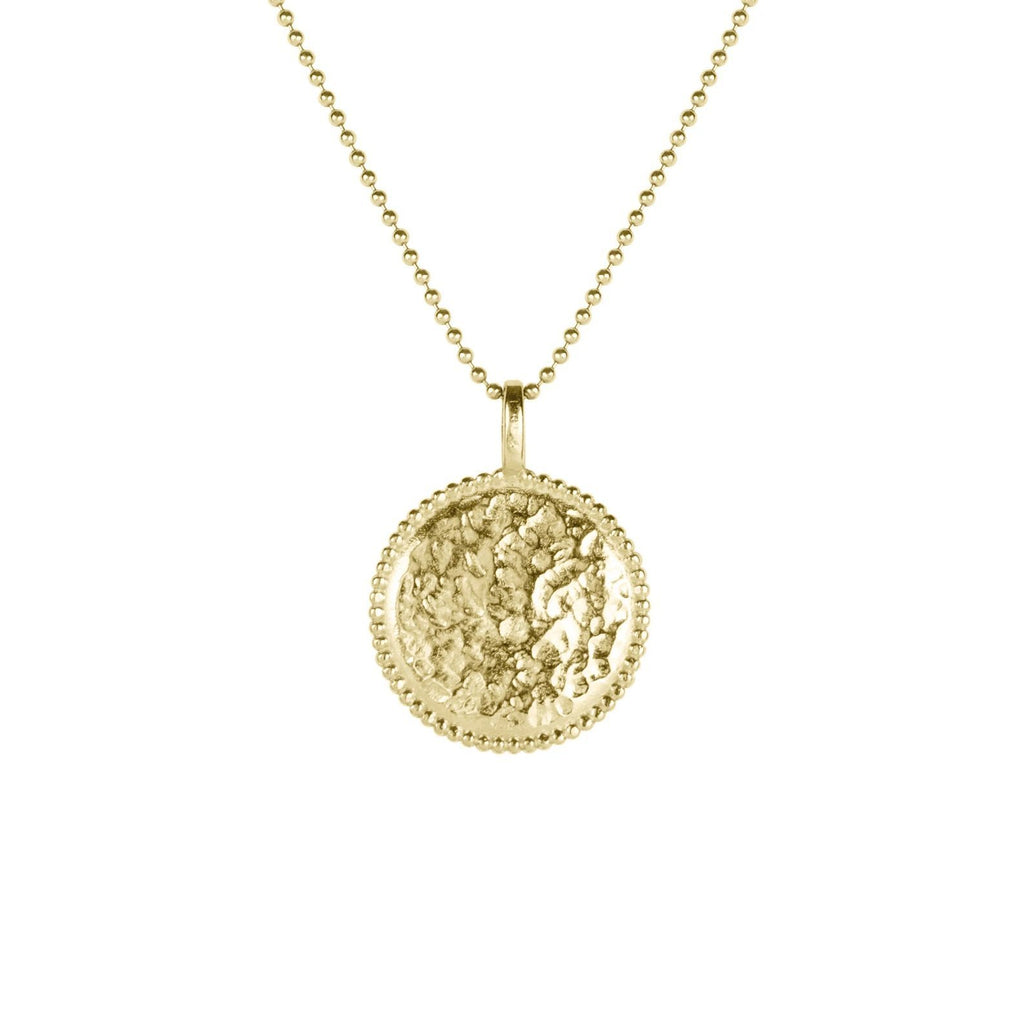 Up close image of gold Beaded Coin Necklace against a white background.