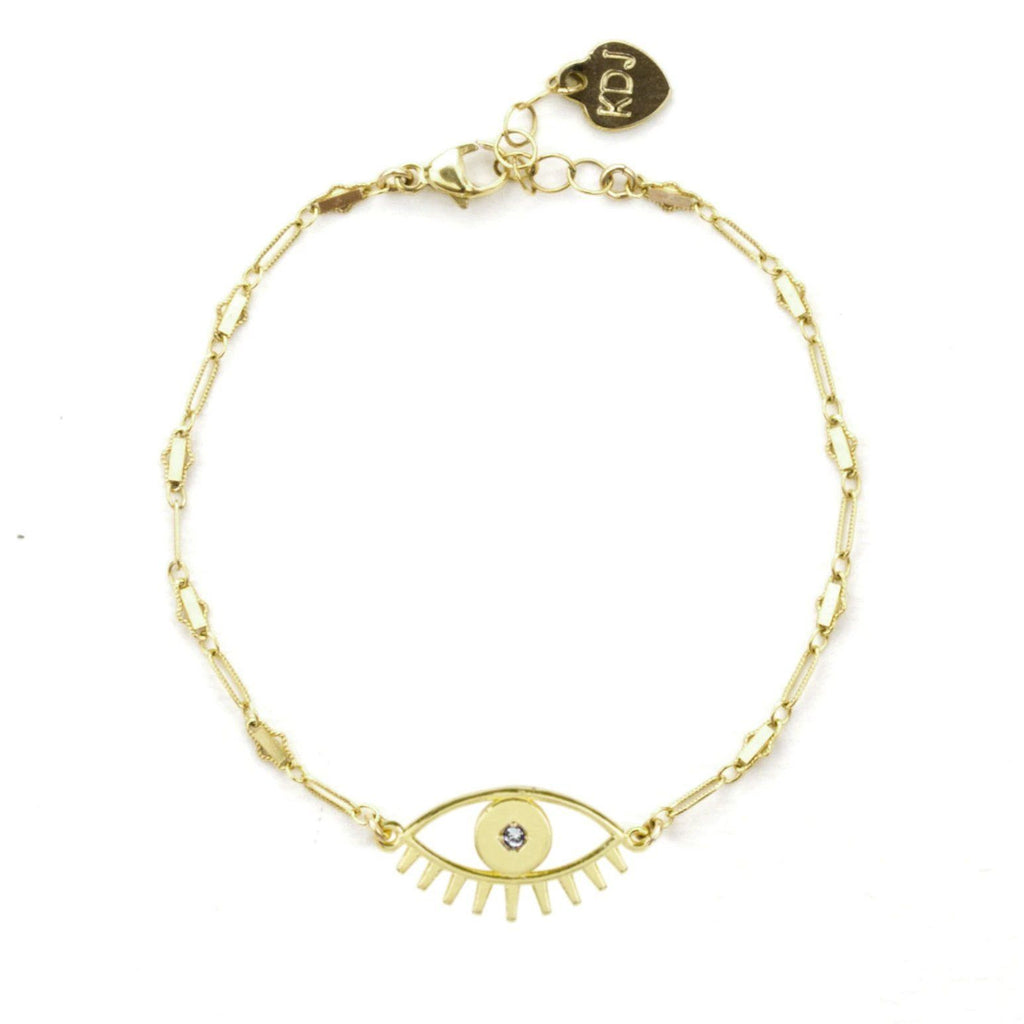 Keeping all bad juju away from you! Let this pretty Evil Eye Bracelet protect you from bad vibes and spread the love to one and all.  Handmade in California by Katie Dean Jewelry.