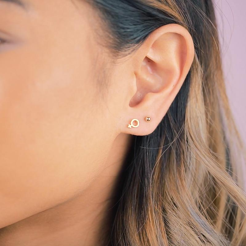Wear it loud and proud! The Female Symbol Studs were inspired by all the support and help that Katie has received from the leading ladies in her life. When you wear these studs, we hope you feel empowered and ready to be the lady boss that you are.