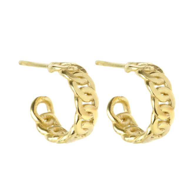 We love a mini hoop earring. Add the Figaro Chain Hoops to your daily rotation, you won't be sorry.  Handmade in California by Katie Dean Jewelry. Nickel free and hypoallergenic.