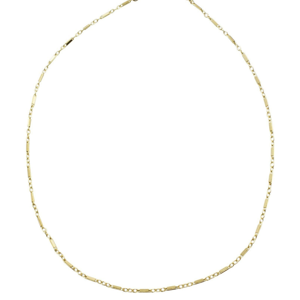 Dainty linked gold filled choker as shown on top of a white background, handmade by Katie Dean Jewelry.