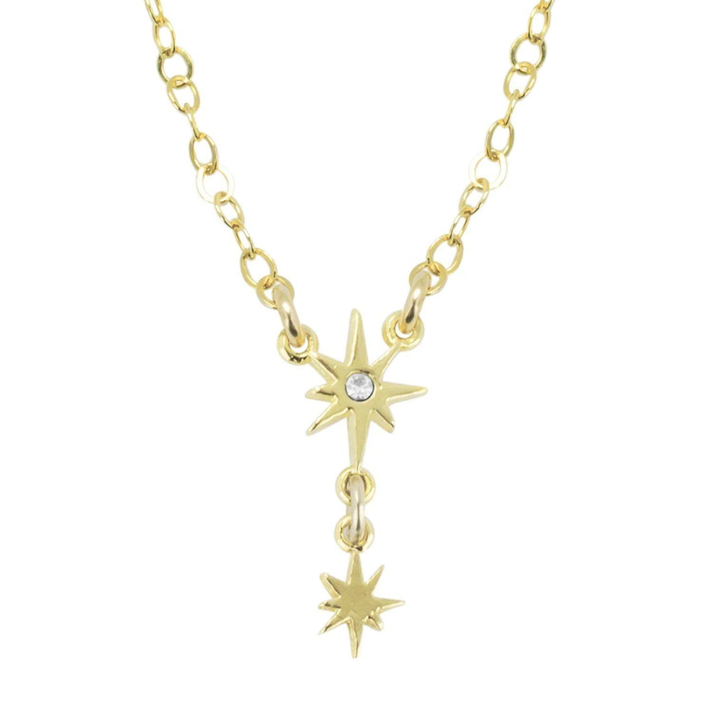 Little Dipper Star Necklace, dainty and handmade by Katie Dean Jewelry in California. Gold against a white background.