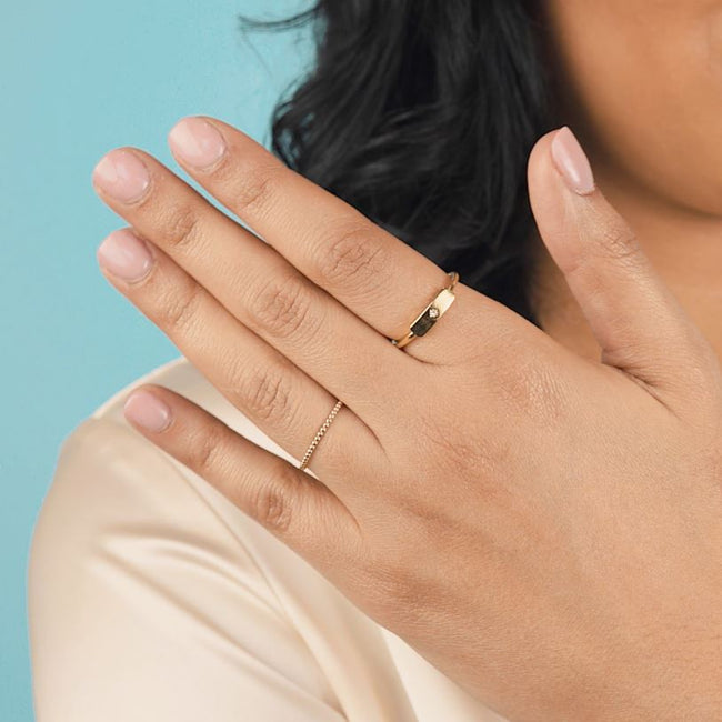 So classic, so fine, so you. Add this refined Rectangle Ring to your layering party.  Handmade in California by Katie Dean Jewelry.