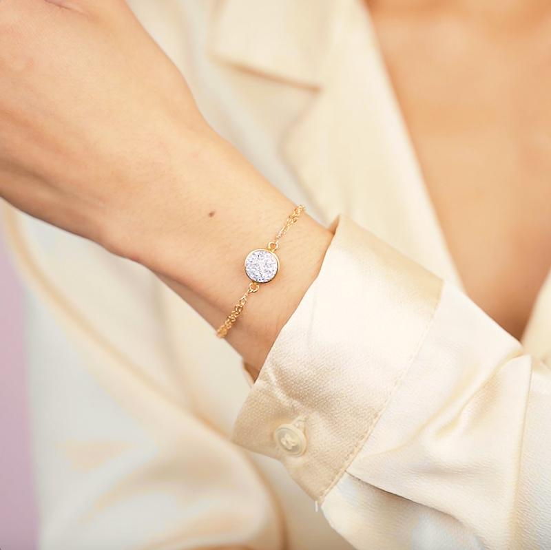 Sparkle your way through life with the Fantasia Druzy Bracelet. Handmade in California by Katie Dean Jewelry.