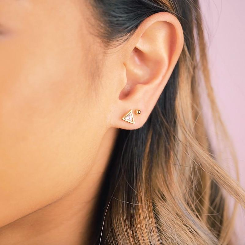 We've had a love affair with shapes since before we can remember. Now it's time to make a statement with the Triangle studs.  Handmade in California. Nickel free and hypoallergenic.