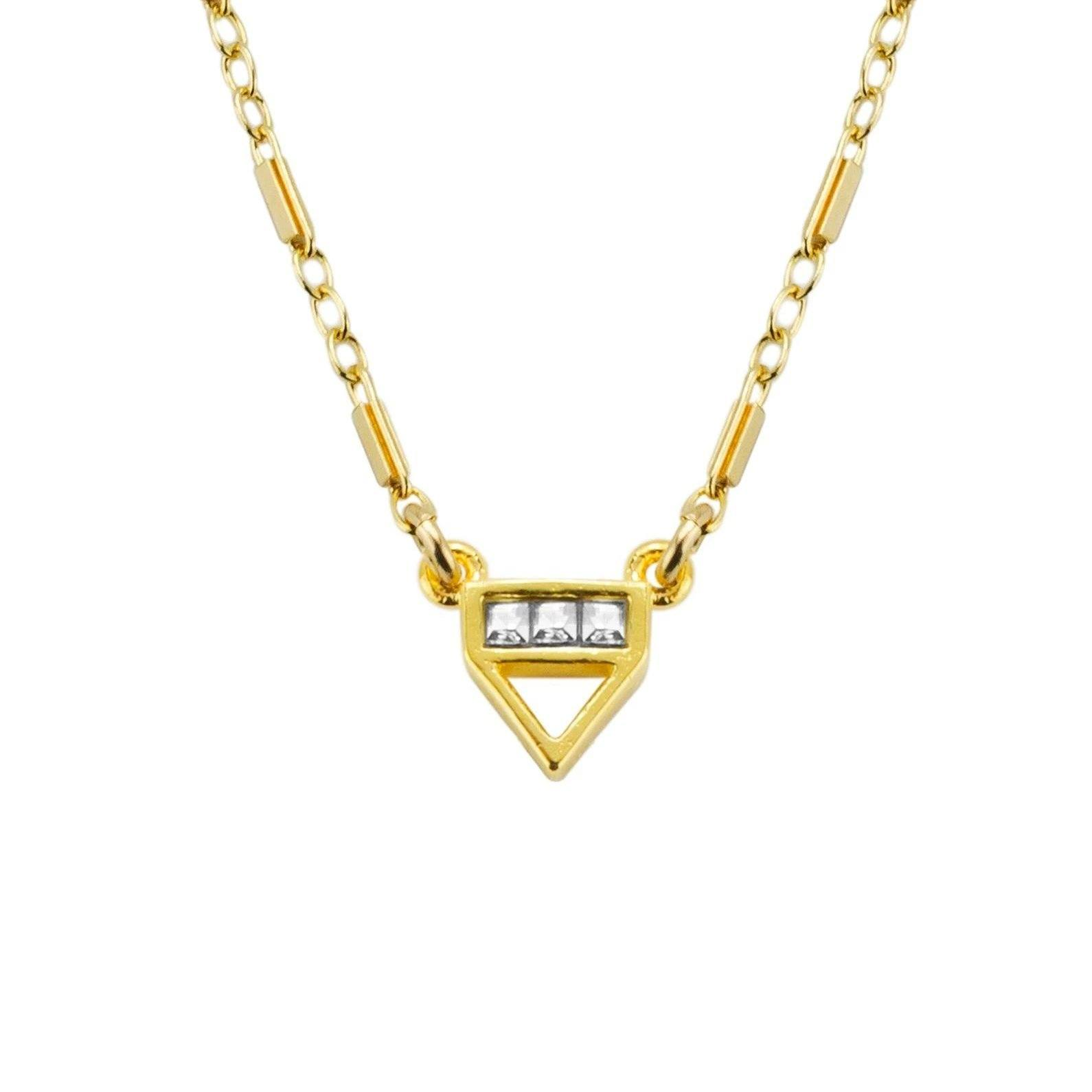 Up close image of the gold Love Triangle Necklace with three crystals.