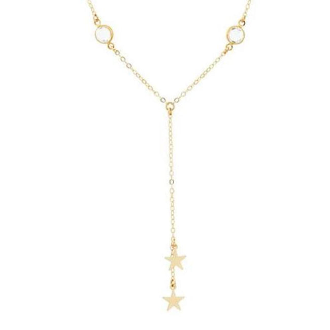 Up close image of the gold Star Crossed Lovers Necklace with tiny crystals and stars.