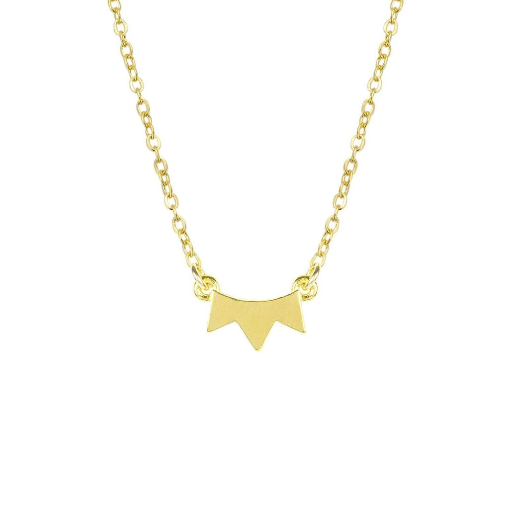 Up close image of the gold Sunrise Necklace pendant with pointy ends.