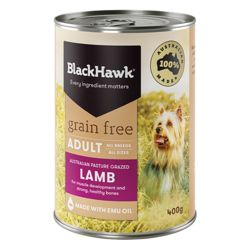 Lamb Grain Free Adult Canned 12x 400g - Black Hawk