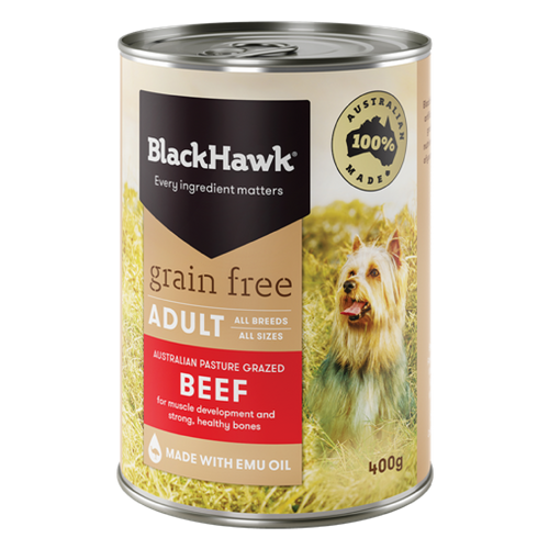 Beef Grain Free Adult Dog Canned 400gm -  Black Hawk