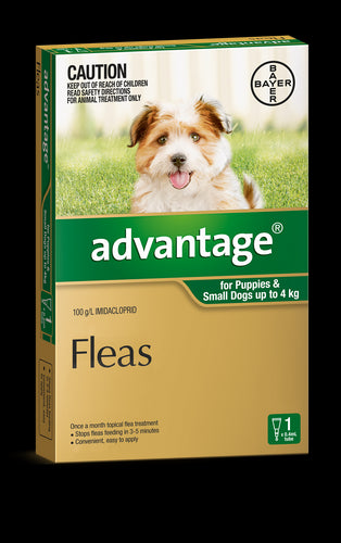 Advantage Dog 0-4kg Small Green 1's