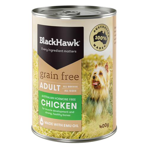 Chicken Grain Free  Adult Dog Canned 12x 400g - Black Hawk