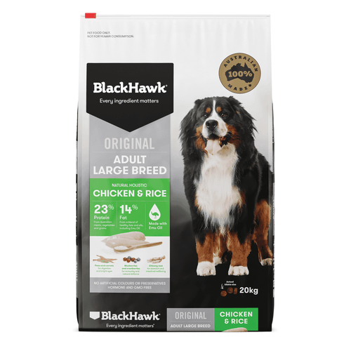 Chicken & Rice Dog Adult Large Breed - Black Hawk
