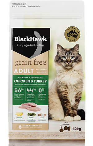 Chicken & Turkey Grain Free Cat Adult 1.2kg -  Black Hawk