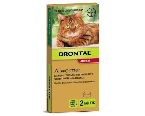 Drontal Cat Allwormer Tablets Red Large Cats over 4kg - 2 Pack