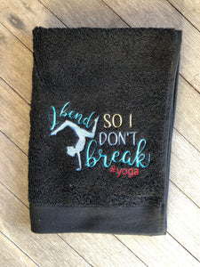 "Pixie Winks ""I bend so I don't break"" Yoga Sports Towel"