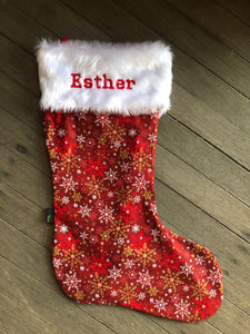 Christmas Stocking with Furry Top - Personalised optional