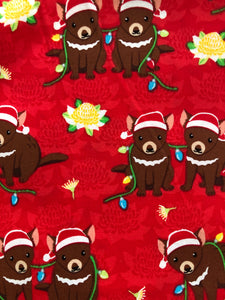 Unisex Christmas Red Tassie Devil Nurse Scrubs