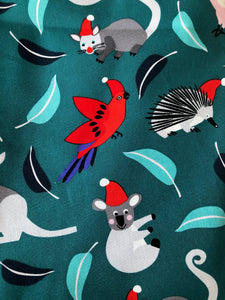 Unisex Christmas Teal Aussie Animals Nurse Scrub Tops