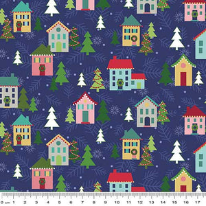 Unisex Christmas Blue Houses Nurse Scrub Tops