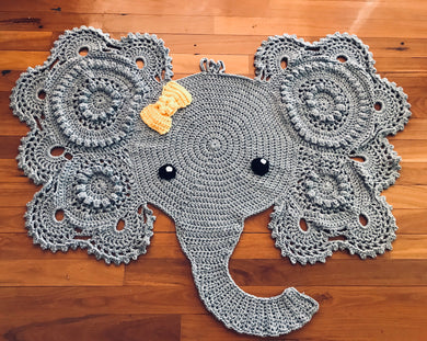 Elephant Floor Rug/Mat with Bow or Tusks - Custom Order