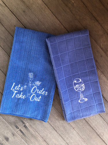 Set of two Embroidered Micro Fibre Tea Towels by Pixie Winks