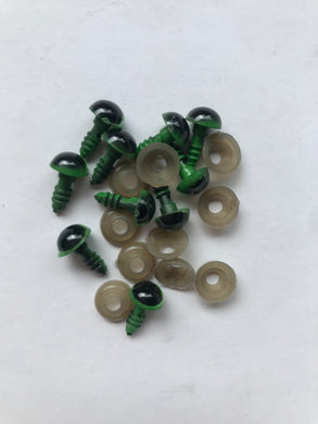 8mm green and black safety eyes - 10 pack