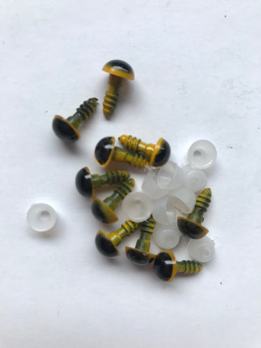 8mm yellow and black safety eyes - 10 pack