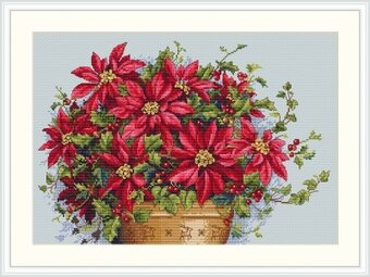 Merejka Poinsettia Cross Stitch Kit
