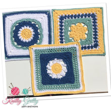 Load image into Gallery viewer, Melinda Miller Design Square Patterns Bundle - 4 balls of Paton Cotton Blend 8ply and one 4.0mm Clover Crochet Hook