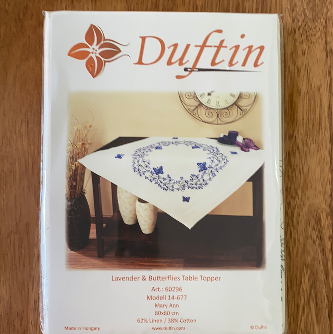 Duftin - Stamped Embroidery Kit - Lavender & Butterflies Table Topper