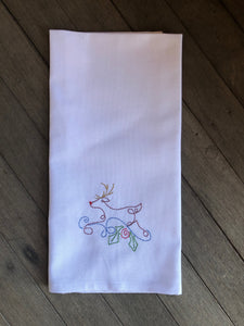 Christmas Embroidered Tea Towels by Pixie Winks