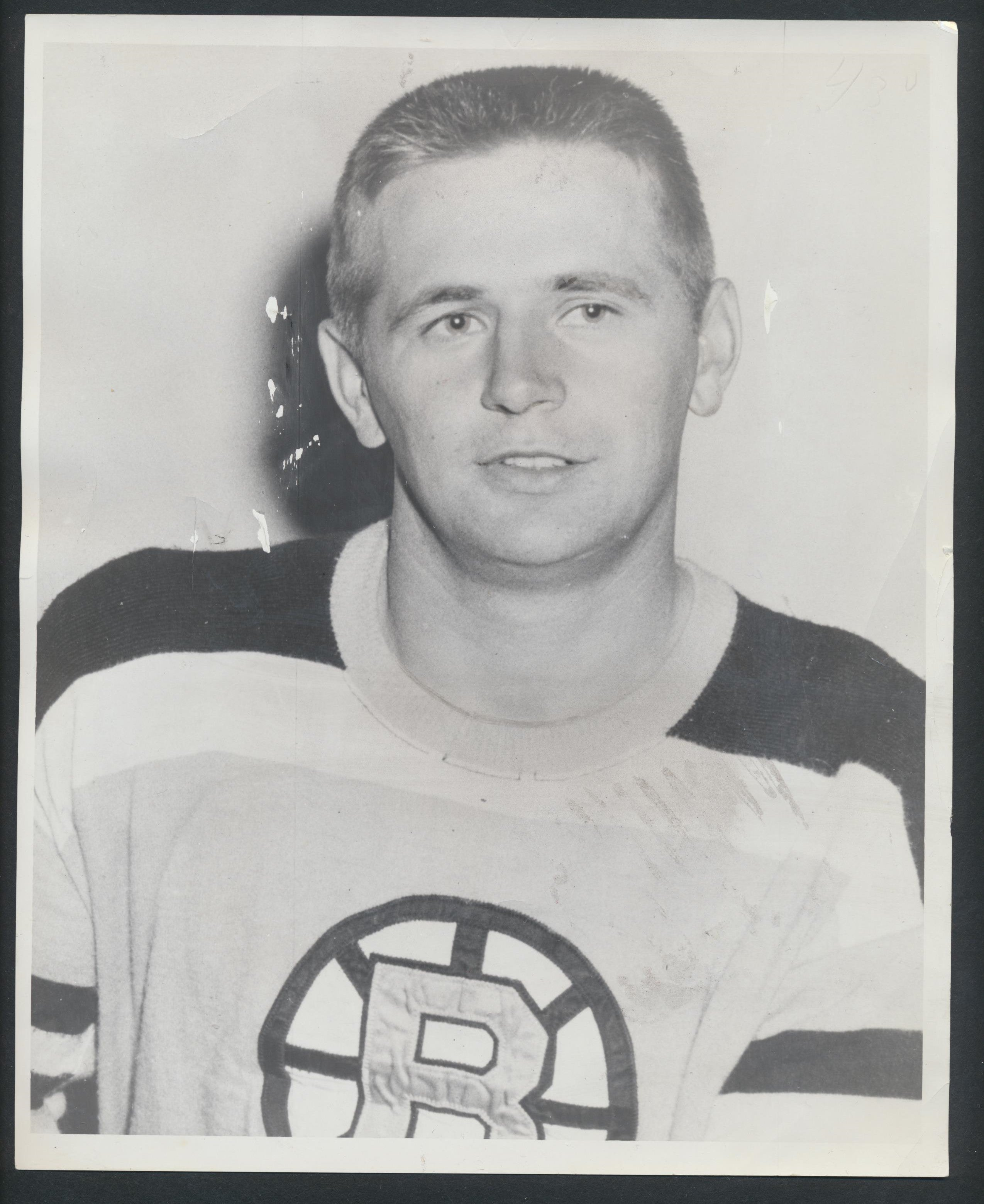 Original Stan Baluik -Boston Bruins Press/Wire Photo 1959-60  Vintage NHL Hockey Pic  News Archives