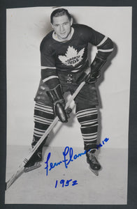 Original Autographed Fern Flaman Turofsky Press Photo 1952  c/w COA  Toronto Maple Leafs  Vintage NHL Hockey Pic  News Archives