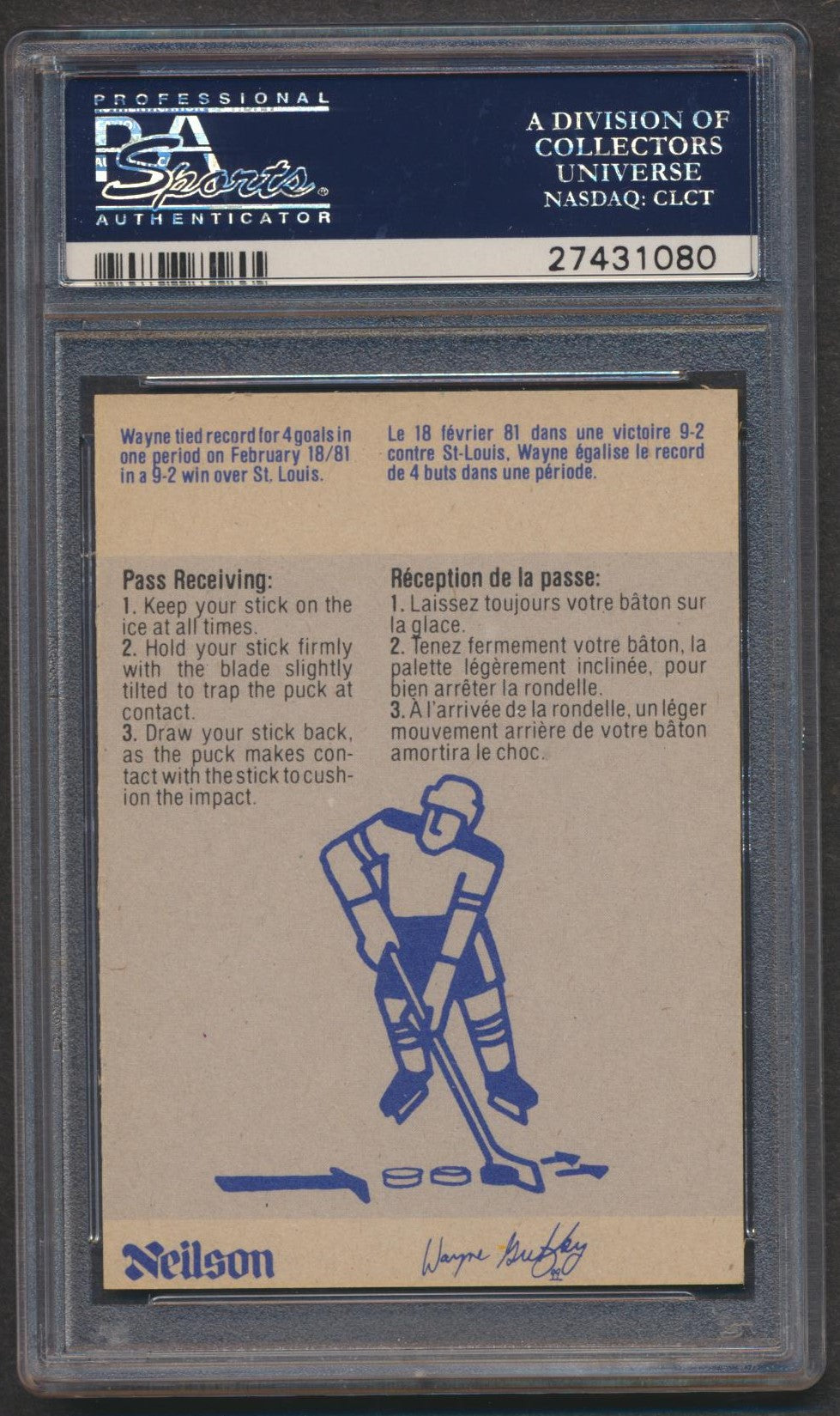 Original Neilson's 1982 Gretzky Card #24 PSA 8  Pass Receiving  Edmonton Oilers