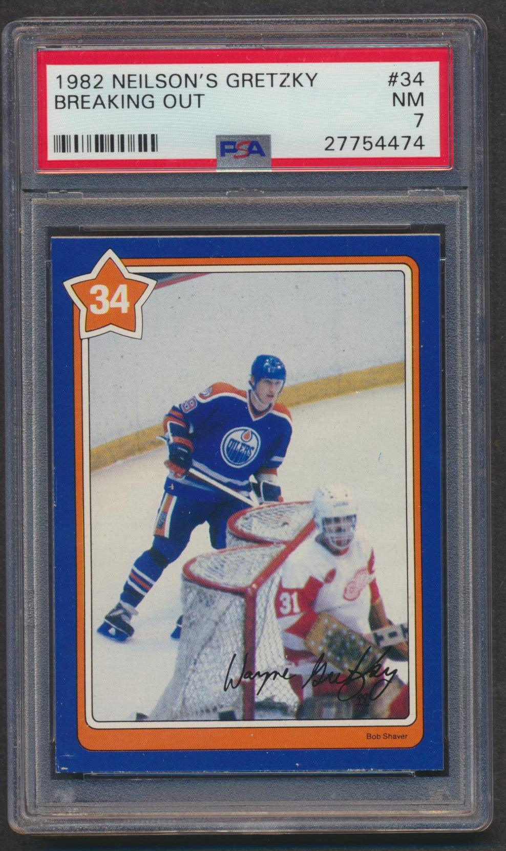 Neilson's 1982 Gretzky Card #34 PSA 7  Breaking Out  Edmonton Oilers