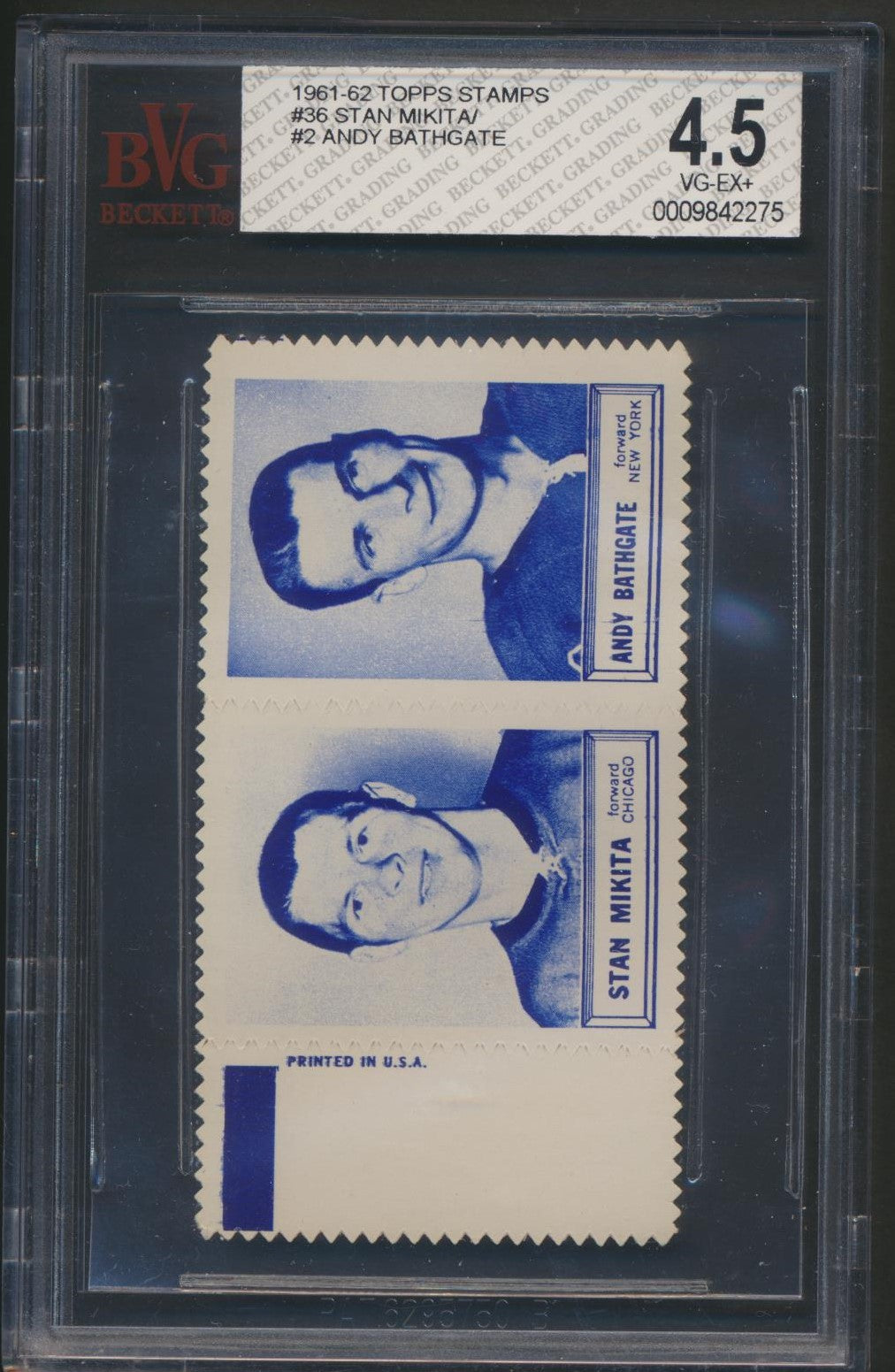 Rare Graded 1961-62 Topps Hockey Inserts Stamp Pairs  Mikita/ Bathgate Panel