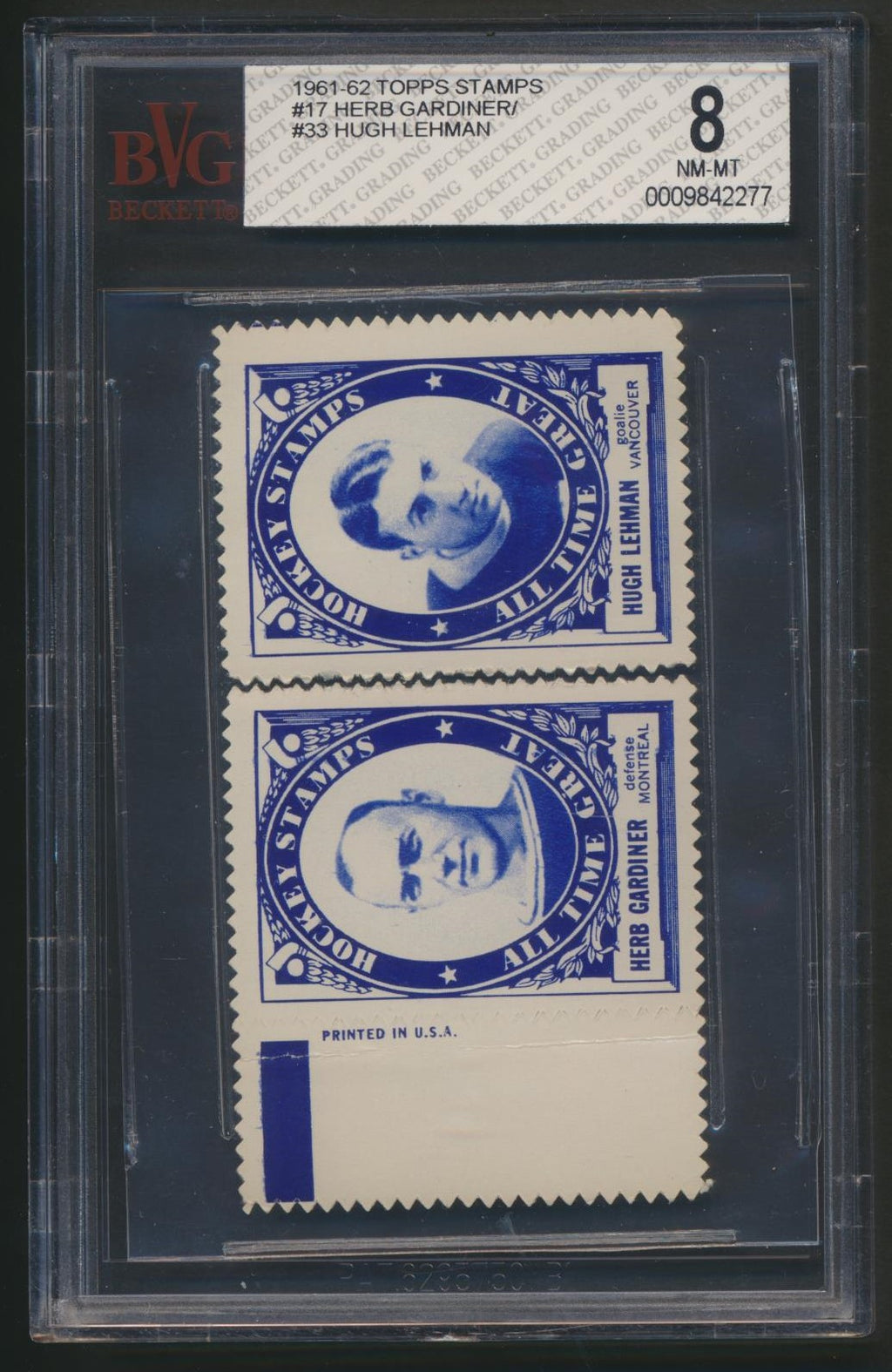 Rare Graded 1961-62 Topps Hockey Inserts Stamp Pairs  H.Gardiner/ Lehman Panel
