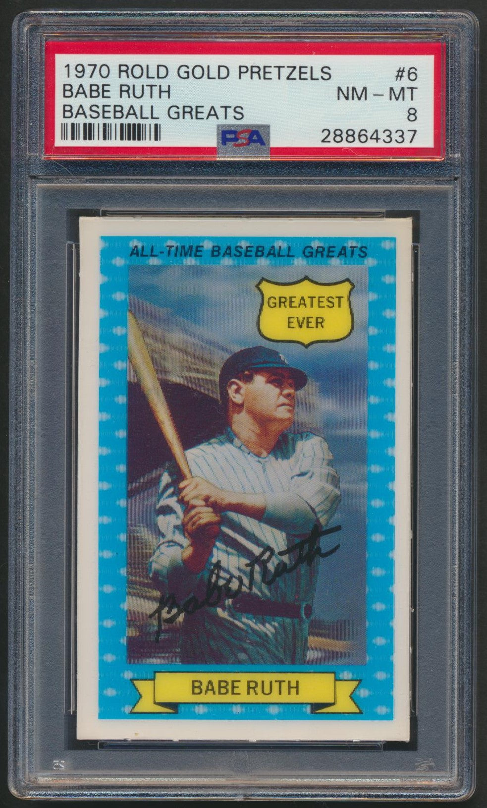 Graded 1970 Rold Gold Pretzels Baseball Card  #6 Babe Ruth - Yankees  PSA 8 NM-MT