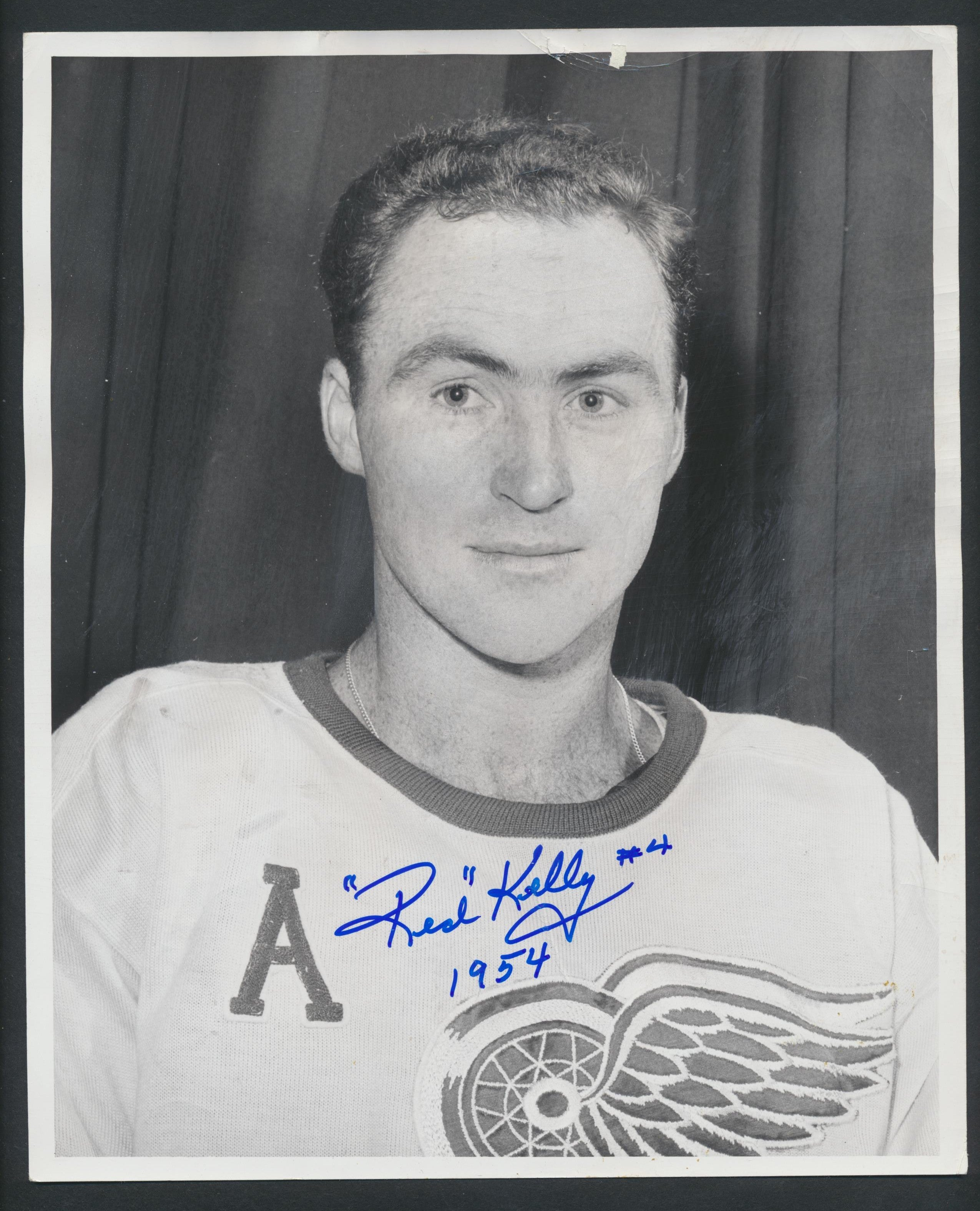 Original Autographed Red Kelly -Detroit Red Wings  Hockey Press Photo 1954  Vintage NHL Hockey Pic  News Archives