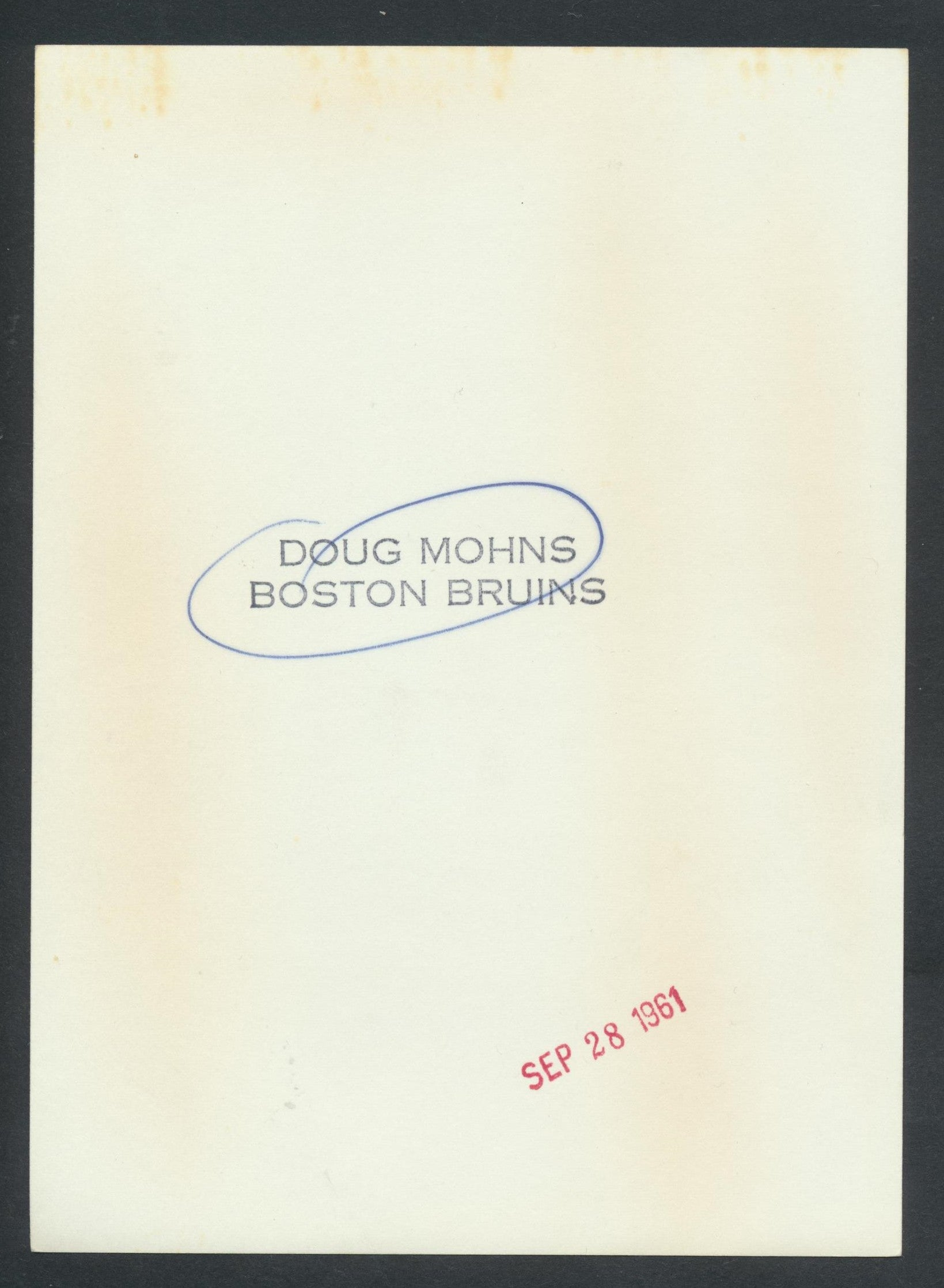 Original Doug Mohns -Boston Bruins   Hockey Press Photo 1961  Vintage NHL Hockey Pic  News Archives
