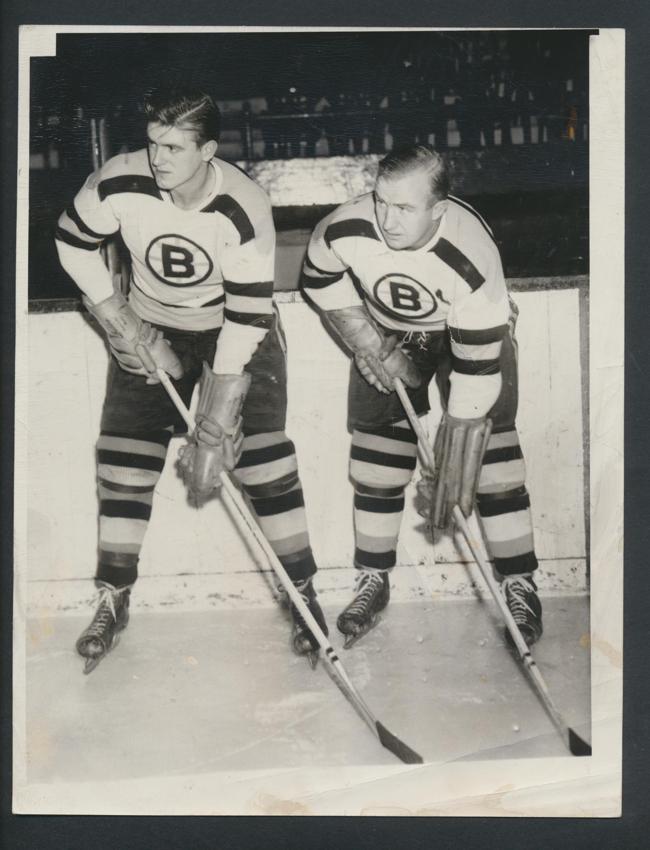 Original Bill & Max Quackenbush Brothers R HOF Boston Bruins Press Photo 1950-51  Vintage NHL Hockey