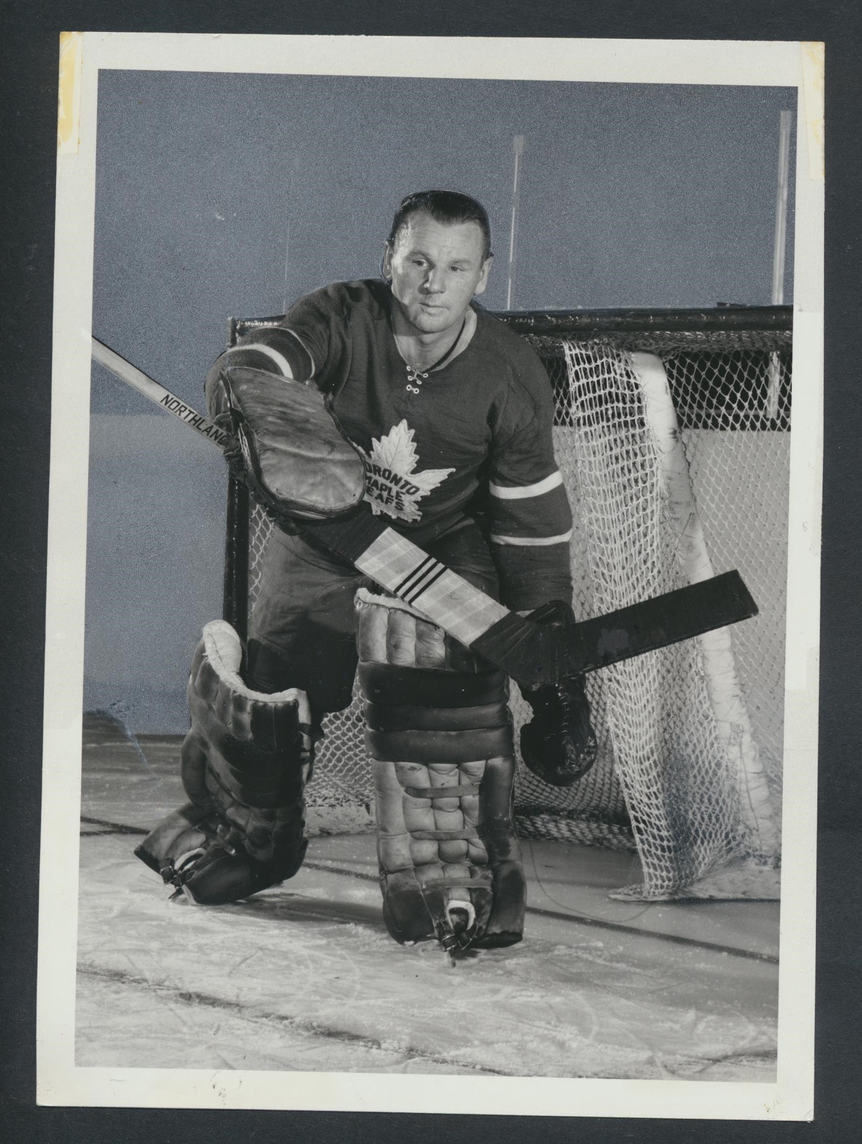 Original Vintage Johnny Bower HOF Toronto Maple Leafs  TUROFSKY Press Photo  NHL Hockey Memorabilia