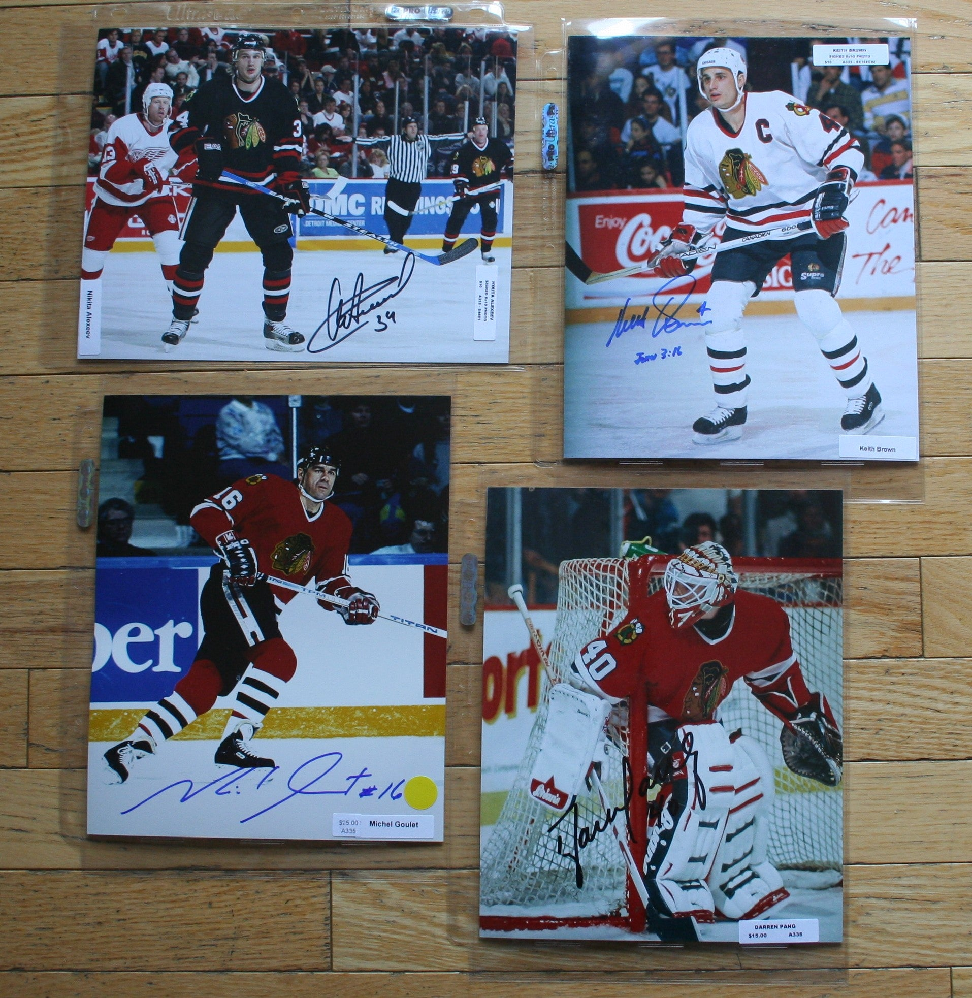 4 Autographed Chicago Blackhawks 8x10 Photos  c/w COA  FREE SHIPPING  Alexeev, Brow, Goulet, Pang  NHL Hockey Memorabilia