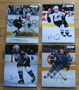 4 Autographed Colorado Avalanche 8x10 Photos  c/w COA  FREE SHIPPING
