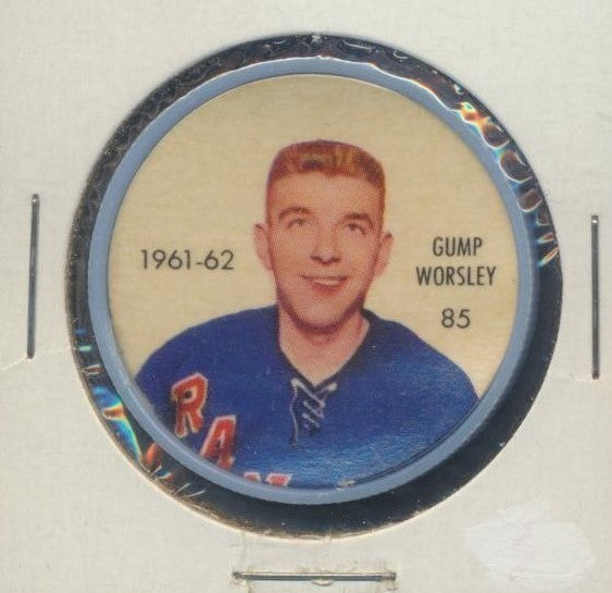 #85 Gump Worsley 1961-62 Salada NHL Coin  New York Rangers  NHL Hockey