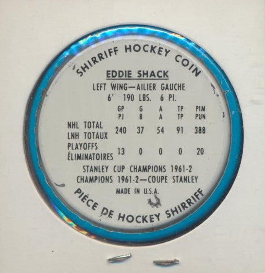 #8 Eddie Shack 1962-63 Metal Shirriff NHL Coin  Toronto Maple Leafs  NHL Hockey