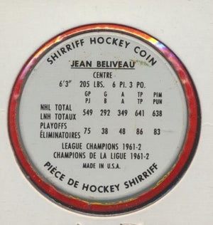 #32 Jean Beliveau 1962-63 Metal Shirriff NHL Coin  Montreal Canadiens  NHL Hockey